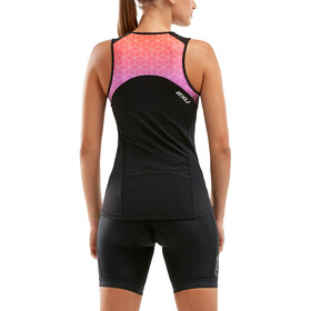 2XU Active Tri Singlet Dames, black/sunset ombre